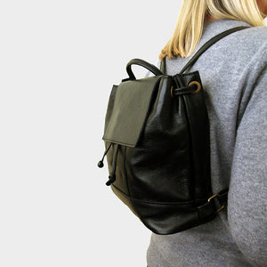 black backpack genuine Italian leather
