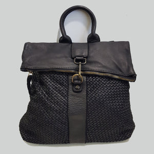 Lydia Woven/Smooth Rugged Chic Soft Leather Backpack