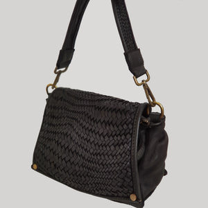 Small Distressed Leather Bag with Woven Flap