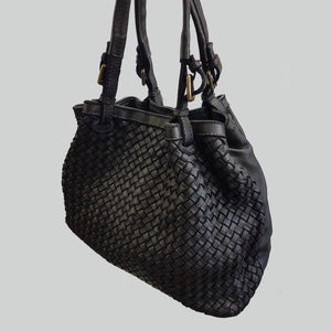 Distressed Woven & Smooth Leather Hobo / Bucket Bag