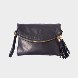 black clutch genuine Italian leather tassels