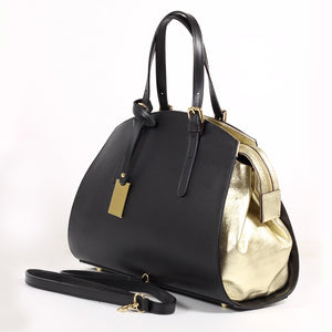 CLEARANCE One Left - Black and Gold Leather Handbag / Crossbody