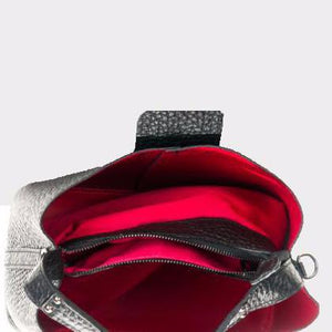 The Pebble Leather Bucket Bag / Crossbody Bag with Red Interior