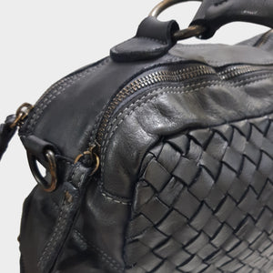 Black Distressed Woven Leather Handbag