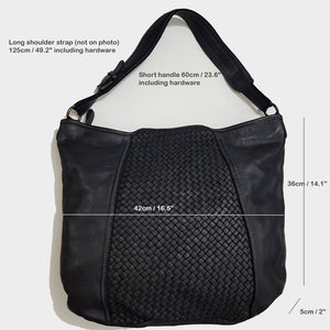 Black Woven Leather Hobo / Crossbody