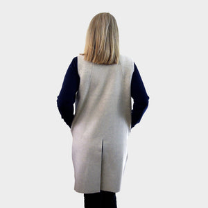 long sleeveless cardigan cream boiled merino wool