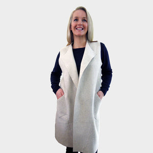 long sleeveless cardigan vest cream boiled merino wool