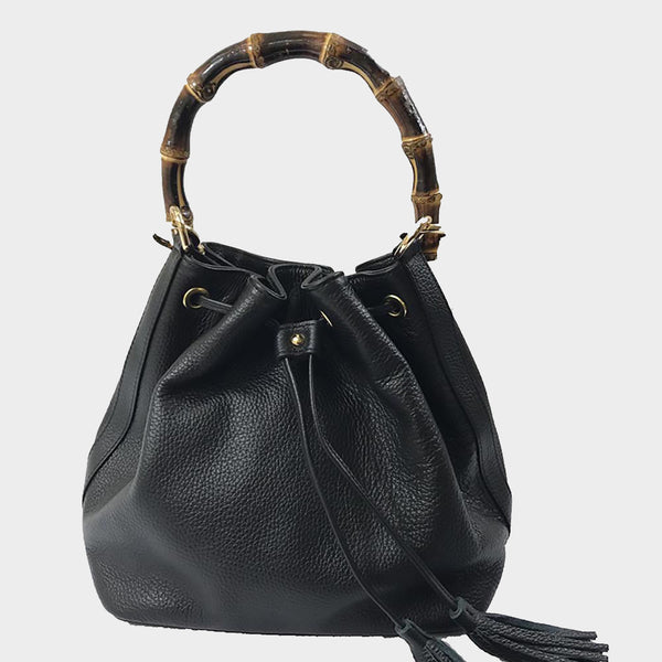 bucket bag genuine Italian leather black