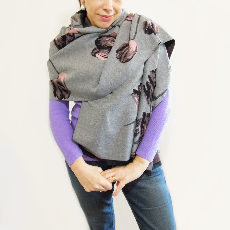 Cashmere Wrap floral grey gray