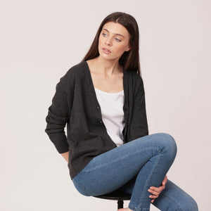 pure cashmere cardigan charcoal black grey