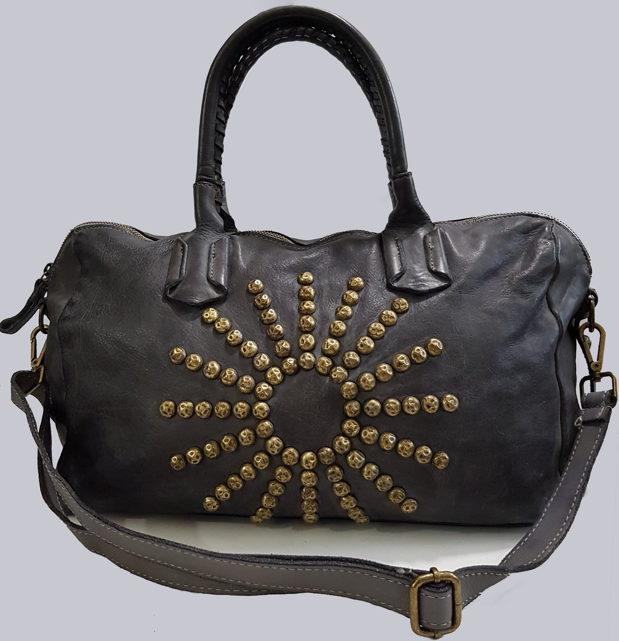 Charcoal Studded Washed Leather Handbag / Shoulder Bag
