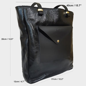 Crinkle Patent Leather Tote genuine Italian leather