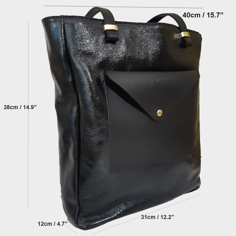 Crinkle Patent Leather Tote