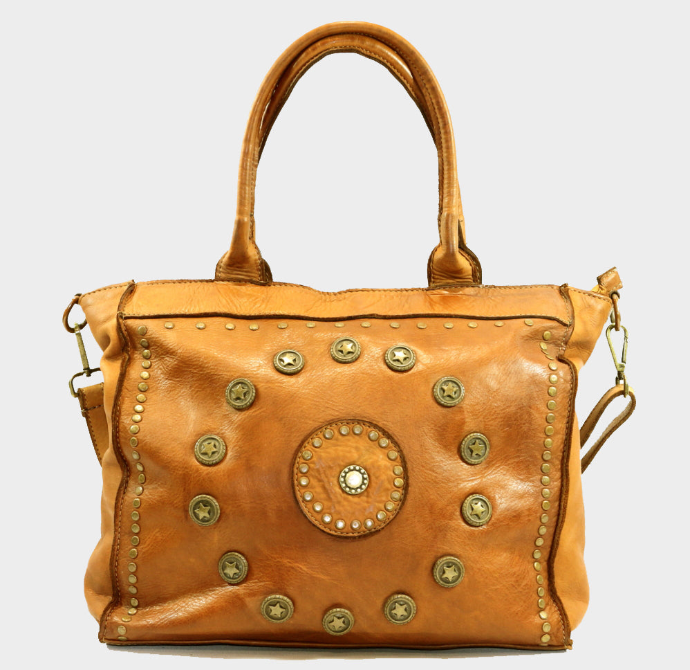 Rugged Chic Washed Leather Tote with Studs