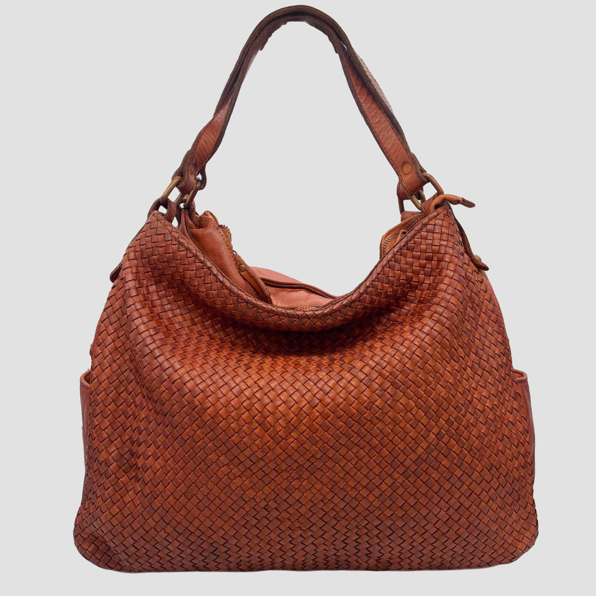 Double Compartment Woven Leather Hobo/Crossbody Bag
