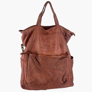 Brown Woven & Smooth Distressed Leather Tote