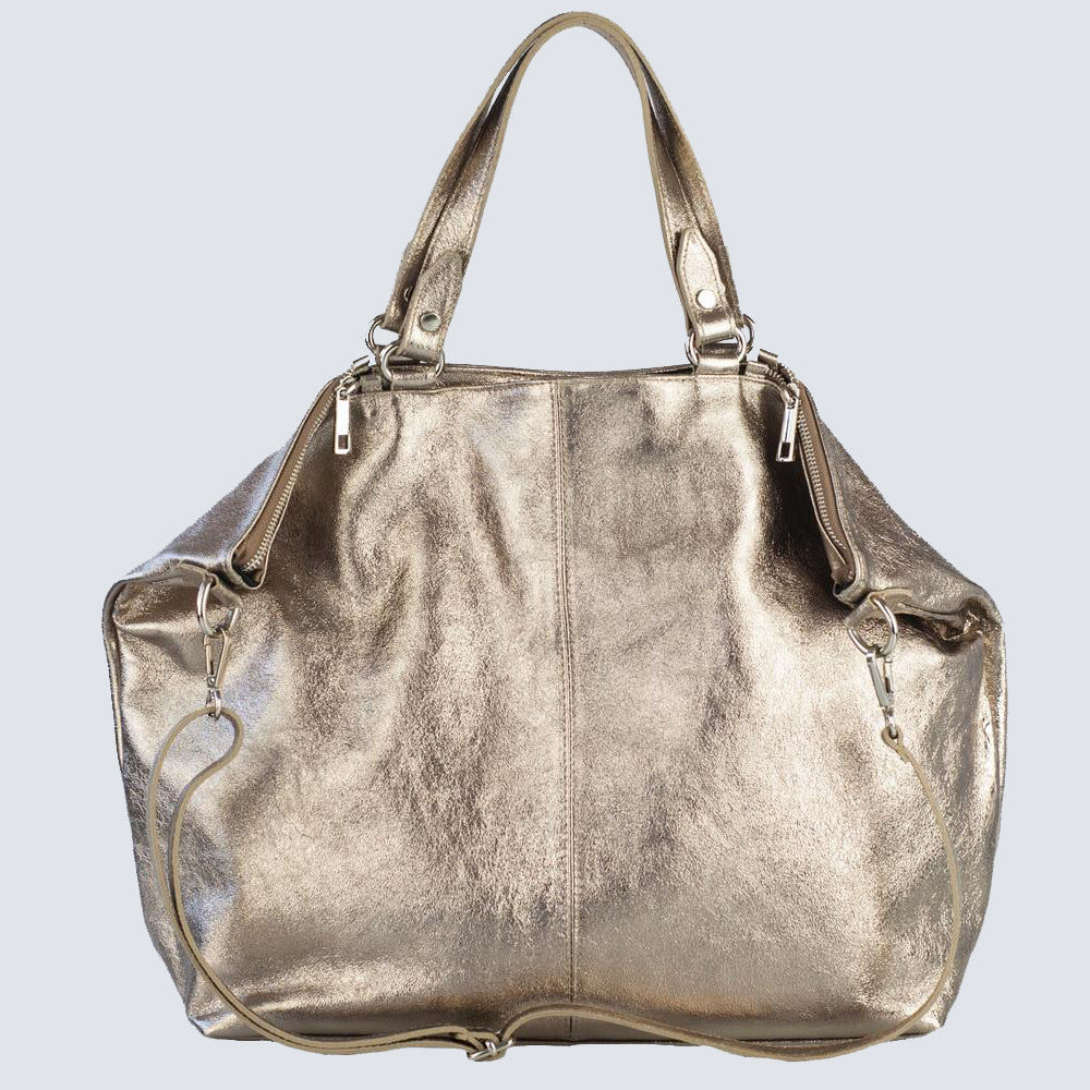 Extra Large Champagne-Silver Ena Leather Tote