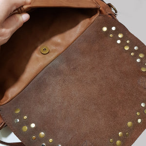 Half Moon Washed Leather Bag with Studs