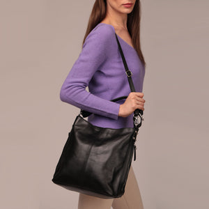 SALE Smooth Leather Hobo Bag With Zips