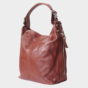SALE Jana Smooth Leather Hobo Bag With Zips