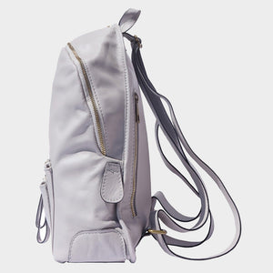 large backpack genuine Italian leather grey black