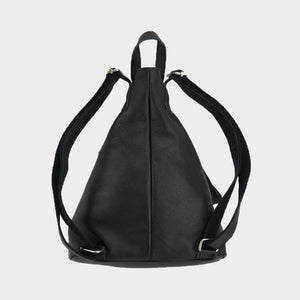 sling backpack black leather
