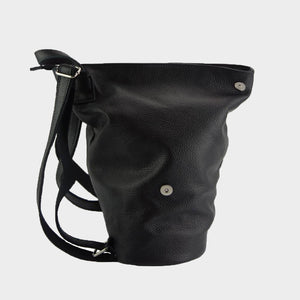 black leather sling backpack Italian