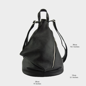 sling backpack leather black