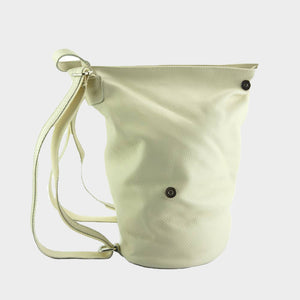 white leather sling backpack Italian