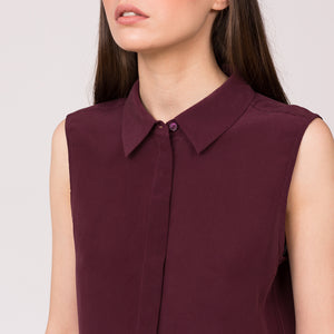 pure silk sleeveless collar shirt maroon mulberry