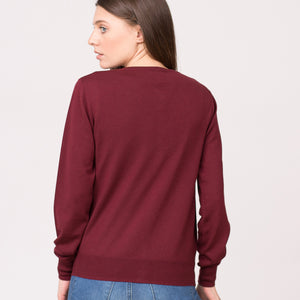 wool cardigan pure merino wool maroon mulberry
