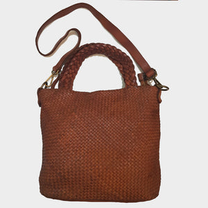 Woven Distressed Leather Hobo / Crossbody with Woven Handles
