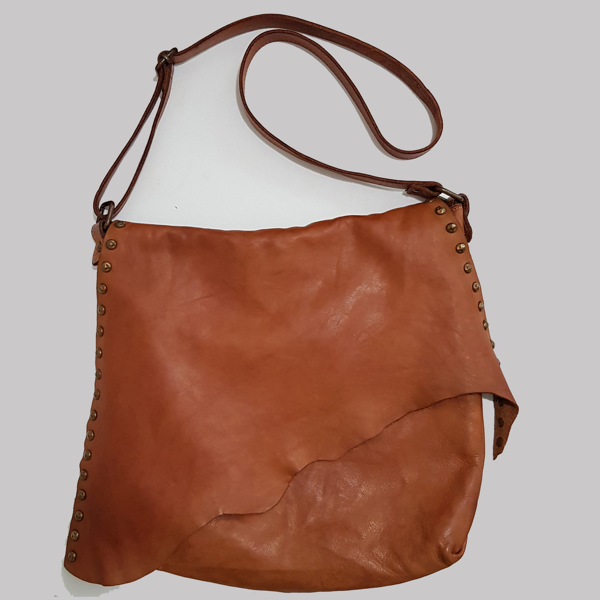 Washed Soft Leather Crossbody Bag with Studs