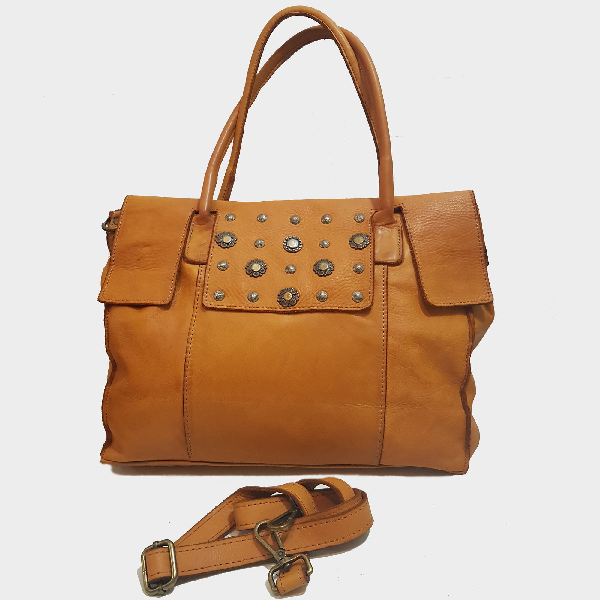 Washed Leather Satchel with Studs