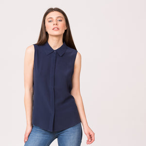 pure silk sleeveless collar shirt navy