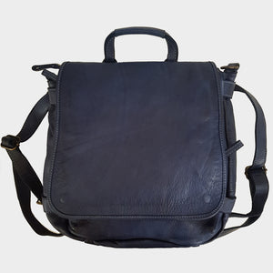 Convertible Navy Backpack Distressed Italian Leather