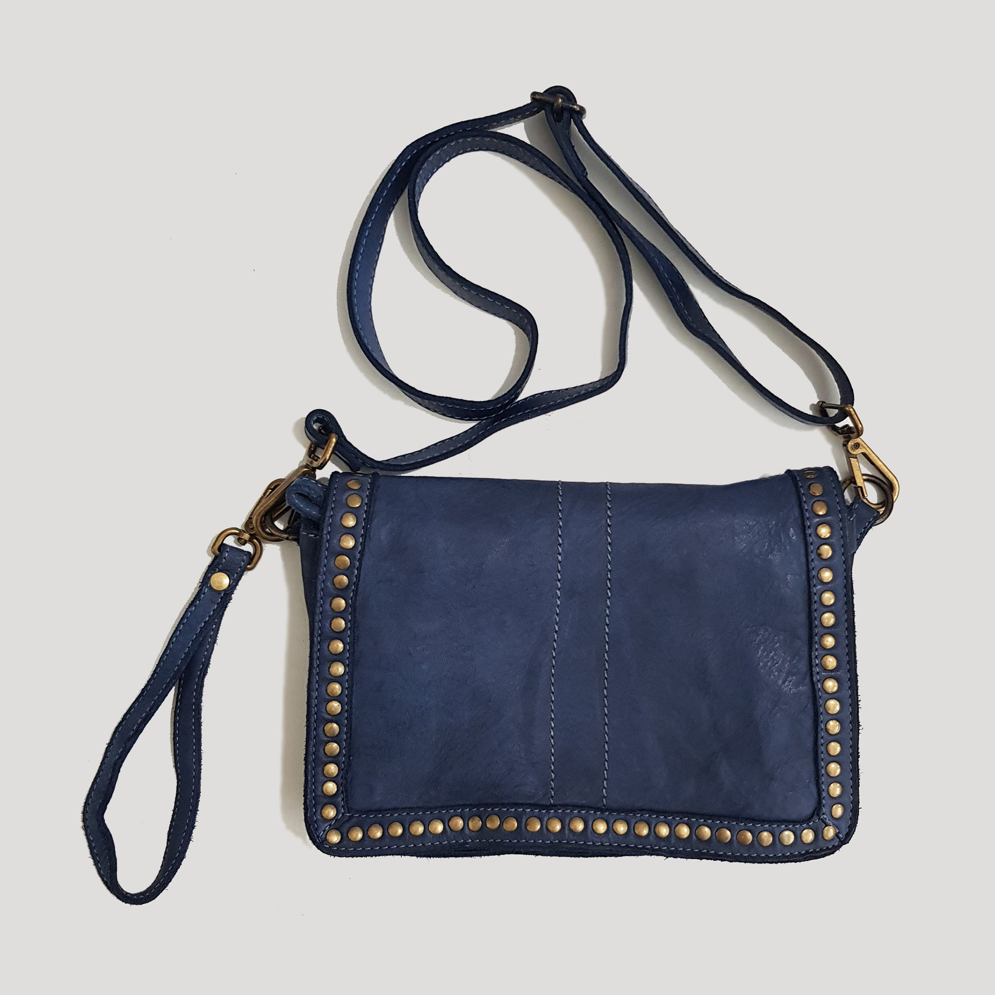 Midnight Blue Studded Washed Leather Crossbody - Small