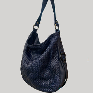 Navy Woven Leather Hobo / Crossbody