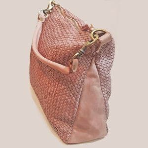 Dusty Pink Woven Leather Hobo / Crossbody