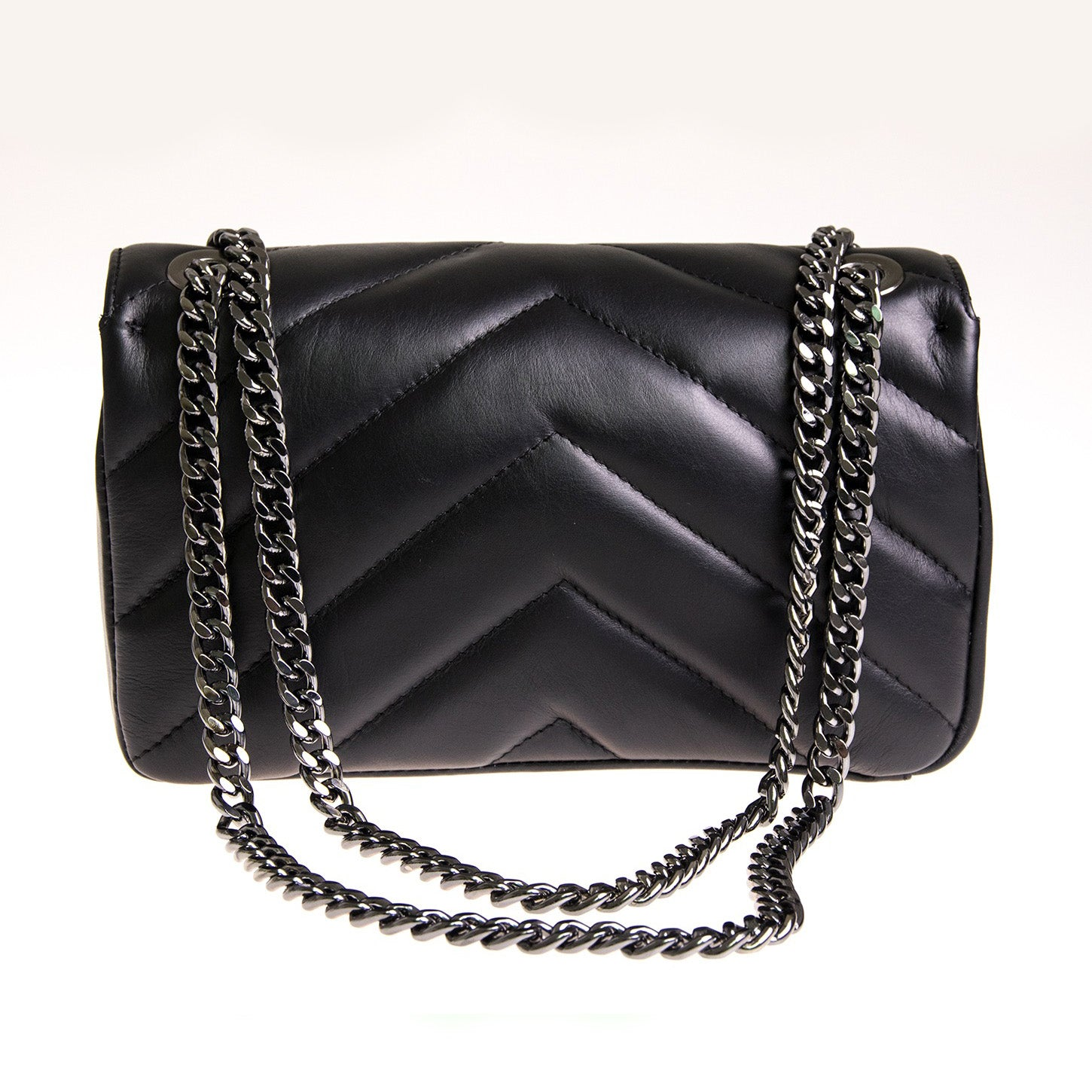 Chevron Quilted Leather Crossbody / Shoulder Bag