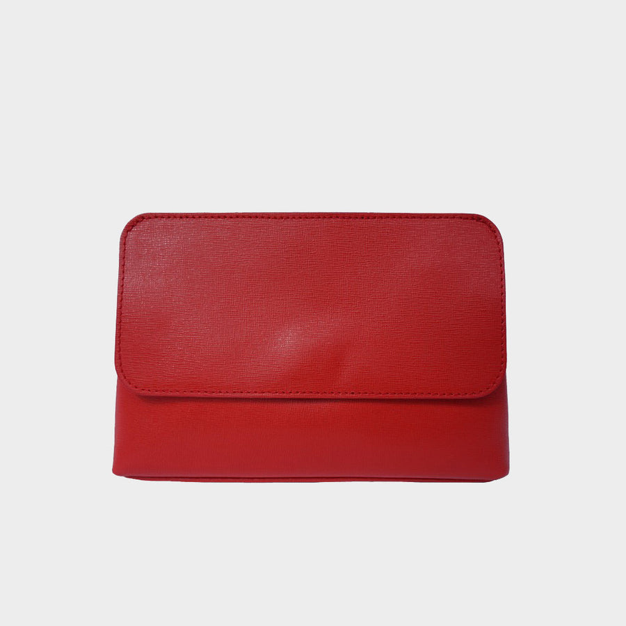 cross-body bag genuine Italian leather clutch red