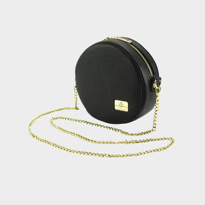 Small Round Leather Cross-Body gold shoulder chain