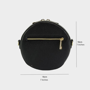 black round cross body bag genuine Italian leather