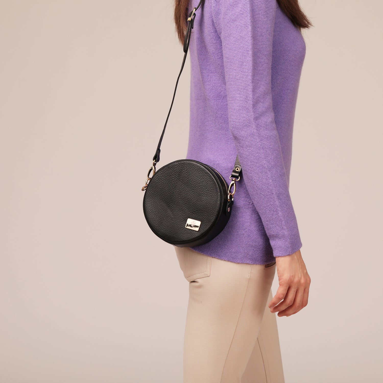 Small Round Leather Cross-Body
