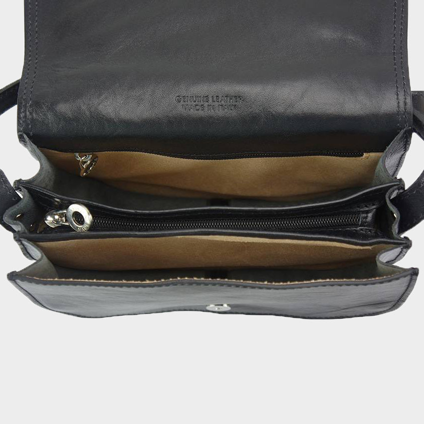leather saddle bag black made in Italy