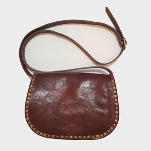 Studded Brown Leather Saddle Bag