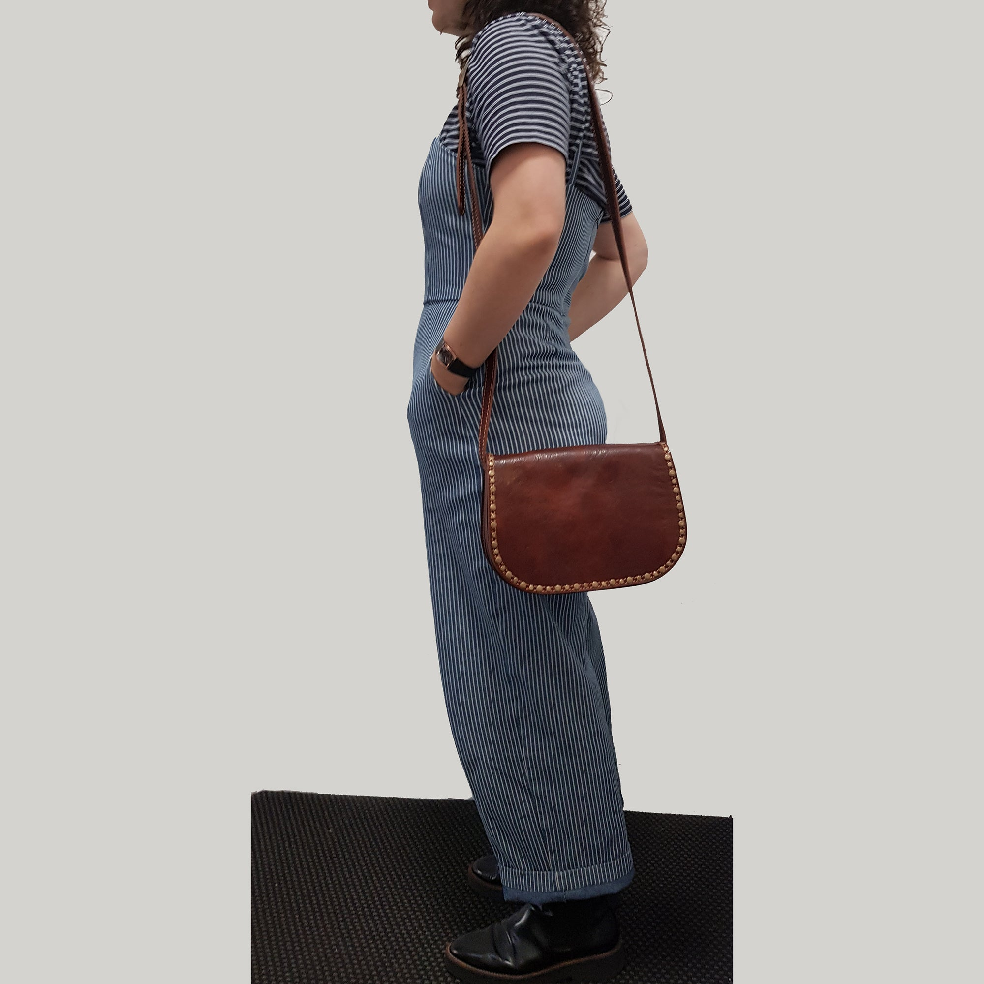 CLEARANCE One Left - Studded Brown Leather Saddle Bag