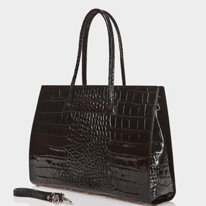 The Crocodile Printed Patent Leather Briefcase Black