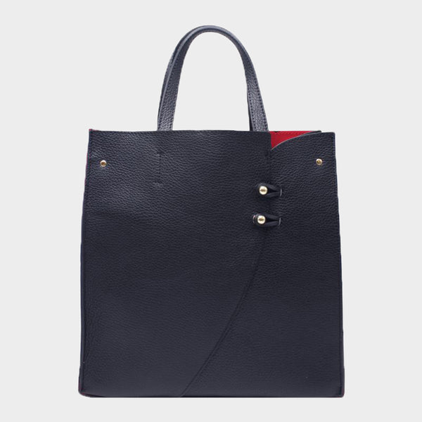 Structured Black Leather Tote Red Interior With Buttons - Medium
