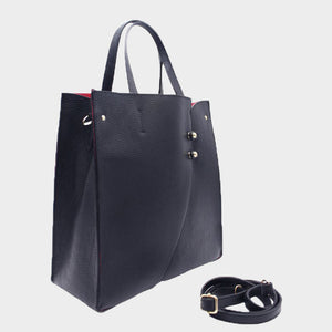 Structured Genuine Leather Tote With Buttons - Medium